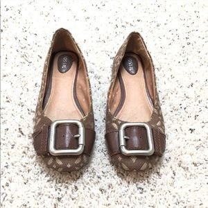 🔷BOGO🔷 Fossil brown tan fabric & leather flats 7